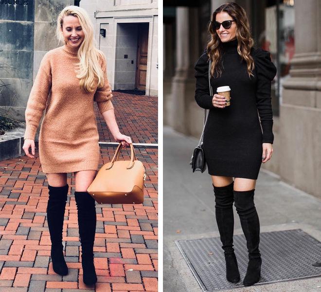 Восемь способов носить платье-свитер, чтобы выглядеть соблазнительно