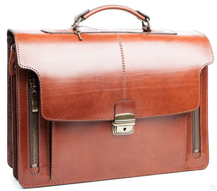 188fc2124b21 Купить Кожаный Портфель ручной работы Элегант, тёмно-рыжий в Санкт ...