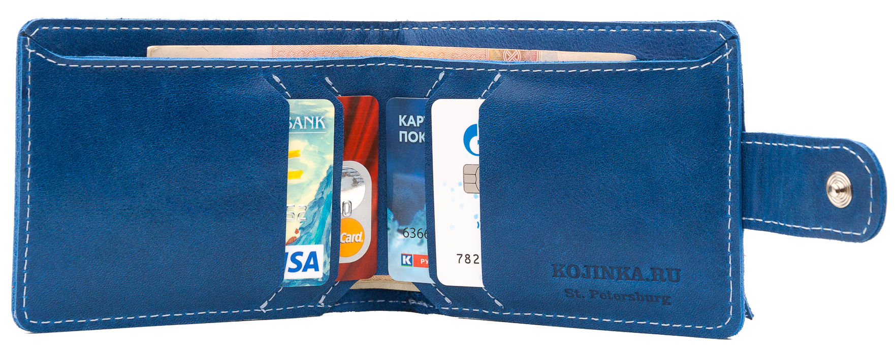 fba07003bd58 Купить Кожаное портмоне Италия, синее в Санкт-Петербурге - Я Покупаю