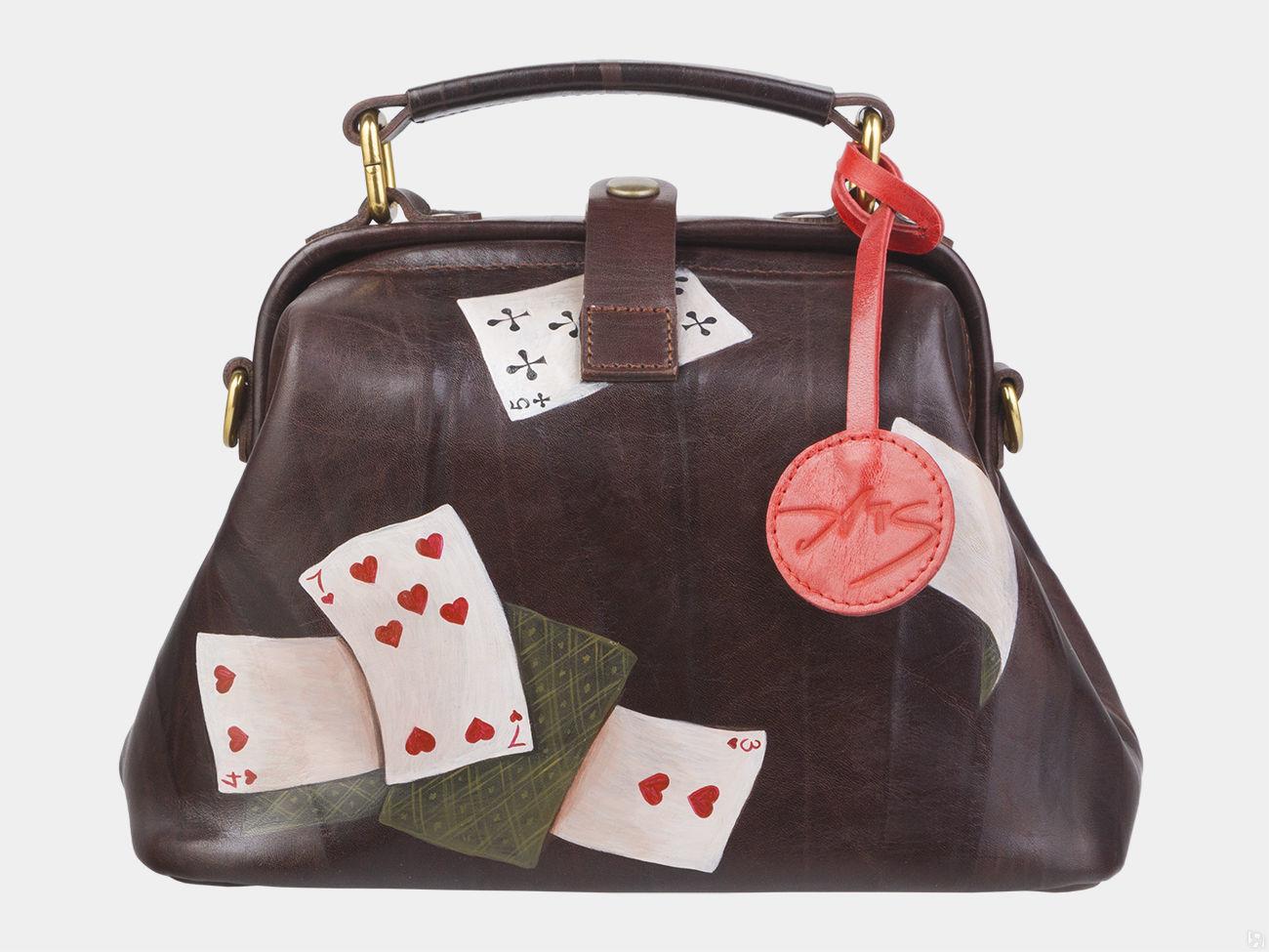 7b944851b997 Купить Женская кожаная сумка-саквояж Азарт, коричневая в Санкт ...